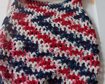 Market Bag, Beach Bag, Tote,Overnight Bag,Crochet Bag, Handmade, Red White and Blue Bag, 4th of July, Independence Day