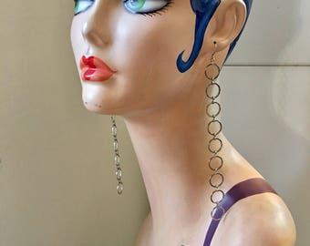 Super long silver tone rings shoulder duster statement earrings