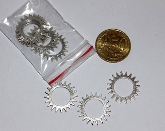 Set of 10 22mm gears, silver charms