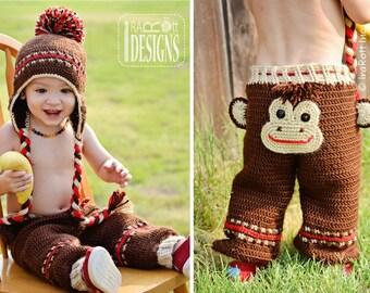 CROCHET PATTERN Silly Monkey Hat and Pants Crochet Pattern in PDF