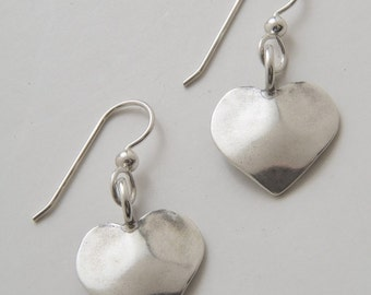 Recycled Dimes Silver Heart Earrings made from Vintage US Silver Dimes