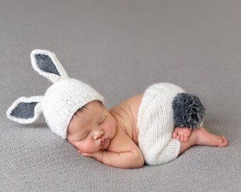 Bunny Newborn Hand Knit Set and Photo Prop