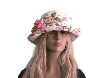 White With Pink Floral Print Cloche Hat Cotton Fabric Women's Hat Church Hat Tea Hat