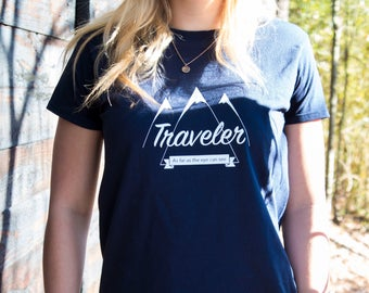 Traveler 'As far as the eye can see' T-shirt Navy