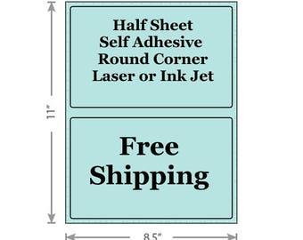 Pastel Blue Shipping Labels 8.5x5.5 Half Sheet Self Adhesive Etsy PayPal Stamps USPS InkJet Laser Free Same Day Shipping