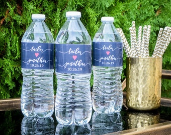 Personalized Wedding Water Bottle Labels, Custom Event Water Bottle Labels, Wedding Reception Water Bottle Labels