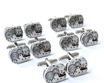 6 sets Steampunk Cufflinks plus FREE matching Steampunk tie tack