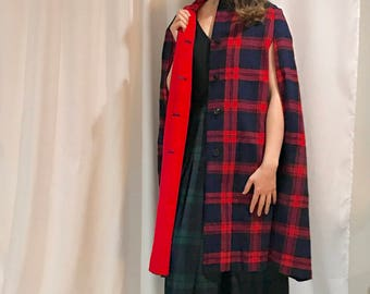 Amazing Reversible Wool Plaid Red and Navy Cape