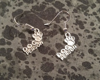 Dog Person Earrings - Silver Tone