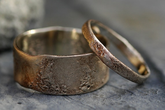 Reticulated Recycled Gold Wedding Band Set- Made to Order