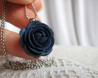 Polymer clay pendant - Navy blue rose flower pendant with stainless steel ball chain