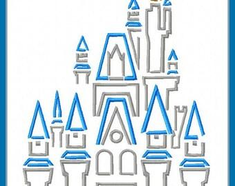 Cinderella's Castle Sketch Digital Embroidery Machine  Design File 5x7 6x10