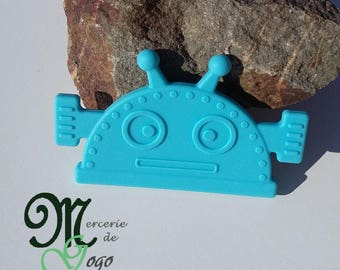 Large ring of silicone teething sewing blue Robot.