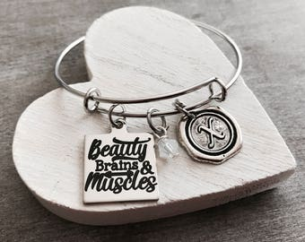 Beauty brains and muscles, Training, Work out, Weight lifter, weights, Crossfit, Athlete, bodybuilder, Fitness, Silver Bracelet, Gifts