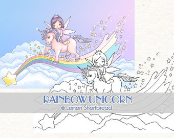 Digital Stamp Rainbow Unicorn Fairy, Digi Fantasy Cute, Children's Clip Art, Coloring Page, Scrapbooking Supplies, Instant download