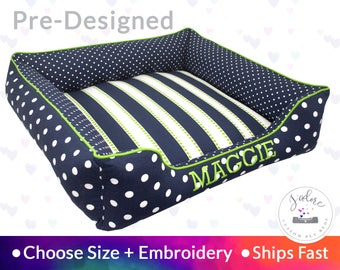 Dog Bed with Personalization - Navy Blue, Chartreuse Green, Stripes, Polka Dots | Washable, Reversible and High Quality - Ships Fast!