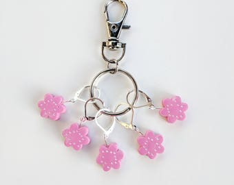 Cherry Blossom Stitch Marker Keyring. Universal for knitting and crochet.