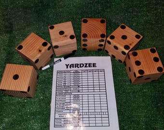 Yard Dice 2 in 1 Yardzee/Farkle Game Custom Made Dice