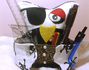 Novelty Desk Tidy/Tool Tidy,  Quirky Owl Desk Holder, Novelty Pirate Craft Tidy, Handy Craft Tool Tidy, Pirate Owl Pen/Phone Holder, Storage