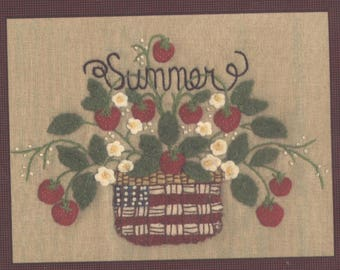 Summer - Basket of Strawberries - Felt and Embroidery Wallhanging Pattern - UNCUT - CR017
