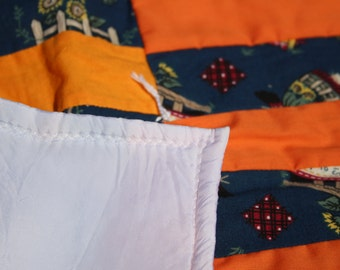 Handmade Doll Comforter - Orange/Blue
