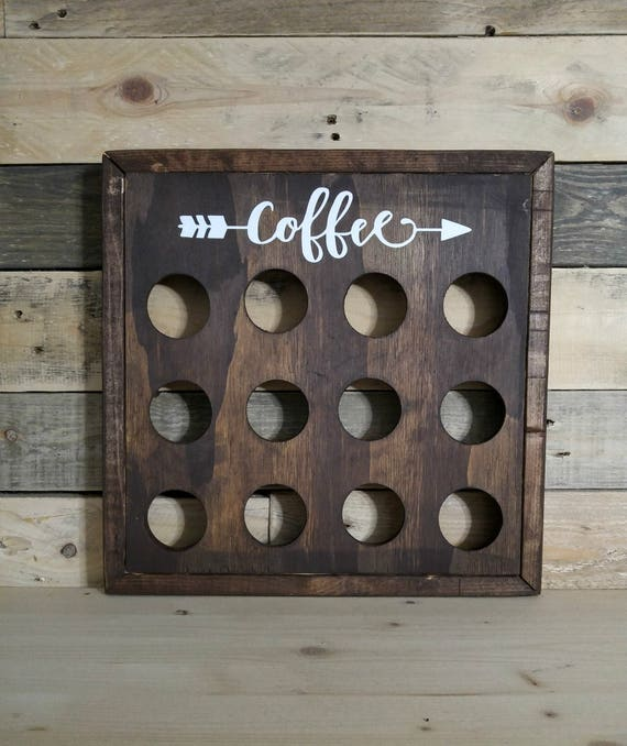 Rustic Wood Coffee Pod Storage K Cup Holder Coffee Station