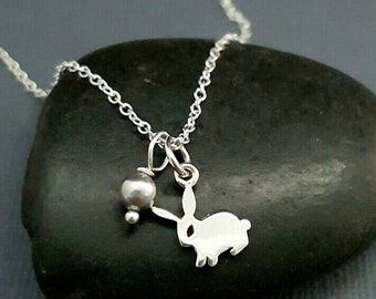 Tiny Bunny Necklace. Baby Rabbit necklace. Sterling silver bunny charm necklace. Rabbit jewelry. Hare necklace.