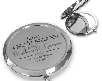 Personalised engraved MOTHER OF the GROOM compact mirror wedding thank you gift idea, handbag mirror - BW7