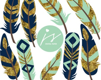 Mint feathers, Feather clipart, Gold clipart, Glitter clipart, Gold feather clipart, Glitter feather clipart, Gold glitter feather, GO-07