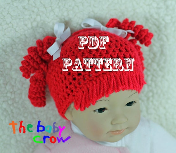 Crochet Baby Hat Pattern - Size 0 mos to 10 yrs - Raggedy Red Baby Hat Pattern - Photo Prop - Halloween Hat -  Crochet Baby Hat