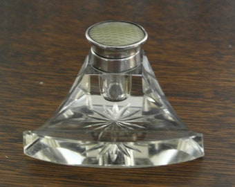 antique hallmarked brimingham 1926 silver lid and glass ink well and pen rest