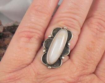 Native American White Agate Sterling Ring
