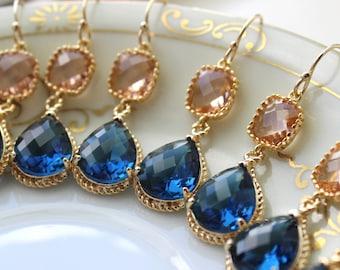 15% OFF SET OF 8 Wedding Jewelry Bridesmaid Earrings Jewelry Champagne Blush Earrings Sapphire Navy Blue Gold Teardrop Bridal Earrings