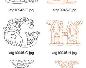 Redwork-Halloween-Alphabet-1 A-M ( 13 Machine Embroidery Designs from ATW ) XYZ17H