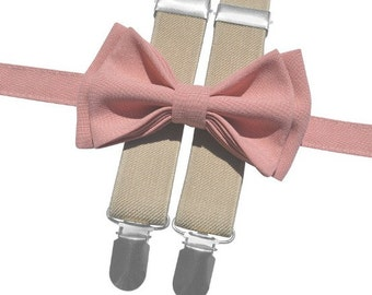 Dusty Rose Bow Tie & Tan Suspenders with Dusty Rose Pocket Square