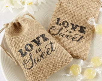 Rustic Favor Bags - Love is Sweet Bags - Burlap Bags - Rustic Wedding Favor Bags - Rustic Wedding Decor, Set of 50