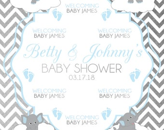Custom Elephant Baby Shower Backdrop Banner Printed Background Photo Booth Prop (Any Text color)