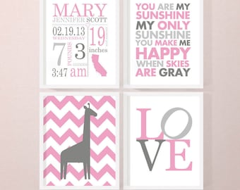 Personalized baby announcement girl baby stats wall art birth stats wall art printcanvasdigital baby announcement wall art baby negle Choice Image
