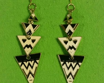 Black and cream triangle dangle Earrings