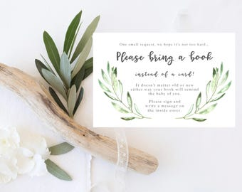 Printable Bring a Book Instead of a Card, Bring a Book Baby shower insert, books for baby, baby shower library, rustic, botanical, leaves