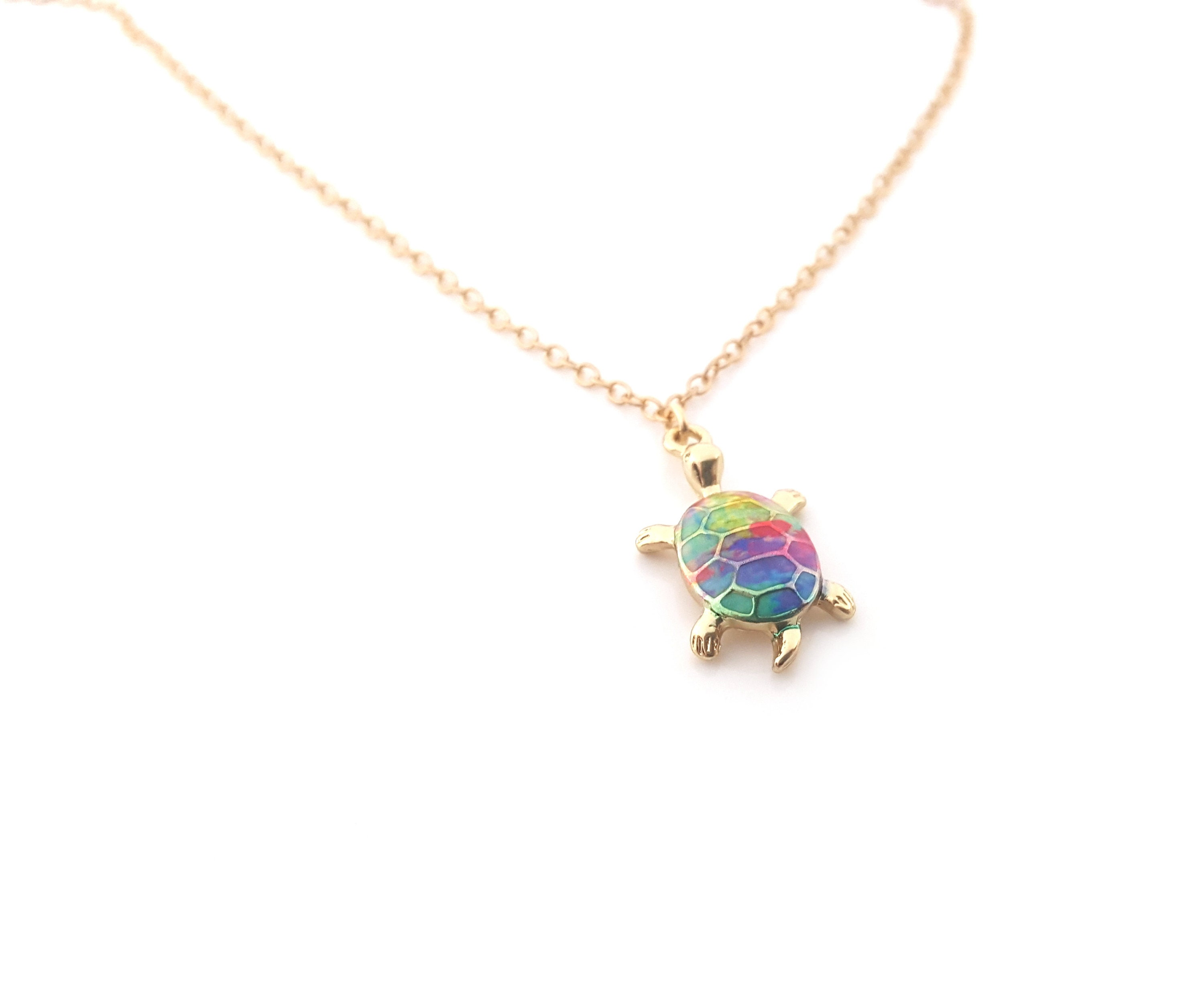 color multi short tone pendant product necklace turtle enamel chain vintage silver