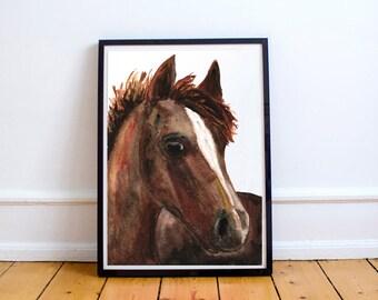 Chestnut Horse Original Watercolor Painting