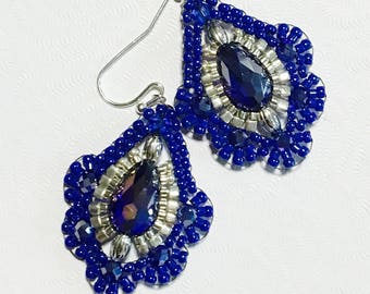 Brick stitched Earrings- Brickstitch Dangle Earrings-  Royal Blue Earrings- Cobalt Blue Earrings- Gift for Her