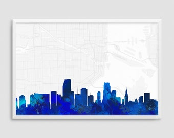 Miami Florida Cityscape and Street Map Blue Watercolor Art Print Office or Home Wall Decor