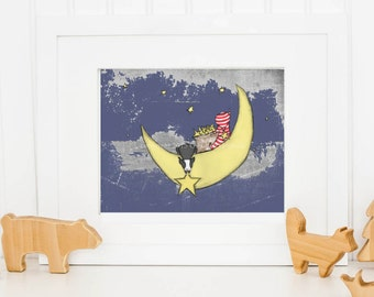 Boston Terrier Nursery Art Print, Dark Blue Space Background boy's room artwork, Boston Terrier Themed Nursery Art, 8 x 10 inch Art Print