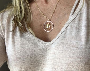 Gold & quartz circle necklace / mixed metal necklace / rose gold necklace / geometric necklace / minimalist necklace / delicate necklace