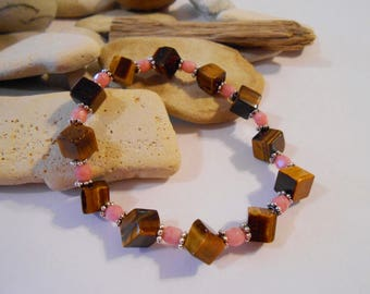 Tiger's Eye and Pink Agate Stretch Bracelet Protection Bracelet Bolivian Jewelry Retirement Gift Graduation Gift New Job Gift Military Gifts