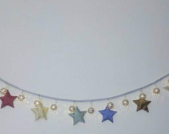 Lights and stars bunting banner/ 20 warm moroccan style metal ball led lights ( battery powered)/ Ramadan decoration
