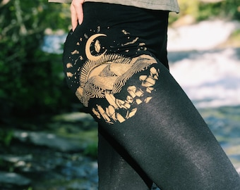 Gold Appalachia Leggings - Long Black Yoga Leggings - Women's Moon Phase Leggings - Festival Leggings - Sacred Geometry Clothing