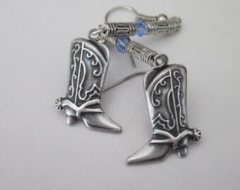 Cowboy Boot Earrings, Western Dangle Earrings, Aquamarine Swarovski Crystal, Antiqued Silver, Brass Metal Stampings